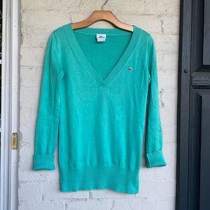 Lacoste size 36 sea green cotton V neck sweater